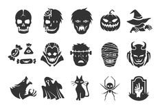 Halloween icons - illustratiion. Flat Design Illustration: Halloween icons Royalty Free Stock Photo