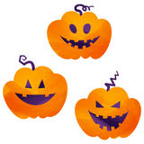 Halloween icons / jack-o-lantern. Halloween icons by watercolor paint touch royalty free illustration