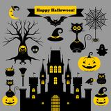 Halloween icons. Vector illustration. Halloween icons or logos in modern line style. Vector illustration on a gray background stock illustration