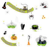 Halloween icons. Halloween motifs set witch hat,ghost,bat etc Royalty Free Stock Photos
