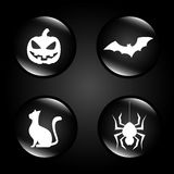 Halloween. Icons over black background vector illustration Royalty Free Stock Photo