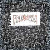 Halloween icons pattern background.Doodles sketchy chalkboard Stock Image