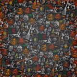 Halloween icons pattern background.Doodles sketchy Stock Photography