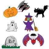 Halloween icons. Pumpkin, bats, a tombstone? Everything you need for your Halloween Royalty Free Stock Photography