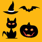 Halloween icons pumpkins bats cats hat Royalty Free Stock Photography