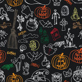 Halloween icons seamless pattern.Doodles sketchy Royalty Free Stock Image