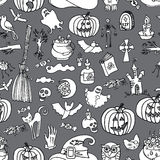 Halloween icons seamless pattern.Doodles sketchy Royalty Free Stock Photo