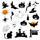 Halloween icons set. Various funny halloween icons on a white background Royalty Free Stock Photography