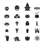 Halloween icons set black and white color design Royalty Free Stock Photo