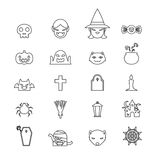 Halloween icons set black and white color line art design Royalty Free Stock Photography