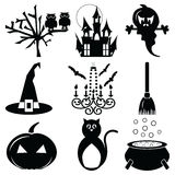 Halloween icons set 2 in black & white Royalty Free Stock Photography