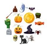 Halloween icons set, cartoon style. Halloween icons set. Cartoon illustration of 16 Halloween vector icons for web Royalty Free Stock Photos