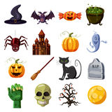 Halloween icons set, cartoon style Royalty Free Stock Image