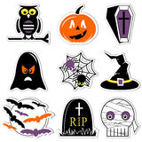Halloween icons set in color, labels style  including owl, pumpkin, coffin with cross,  ghost, spider on spider web, witch hat wit Stock Photography