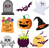 Halloween Icons. A Set of Colorful Halloween Icons Stock Images
