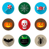Halloween icons. Set of halloween icons on coloured circle background Royalty Free Stock Photo