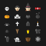 Halloween icons set flat design Royalty Free Stock Images