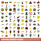 100 halloween icons set, flat style Royalty Free Stock Images