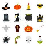 Halloween icons set, flat style Royalty Free Stock Photo