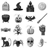 Halloween icons set, gray monochrome style Royalty Free Stock Image