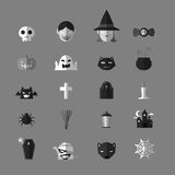 Halloween icons set grayscale color design Stock Images