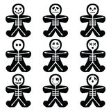 Halloween icons set including vary skeleton characters in gingerbread man shape royalty free illustration