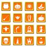 Halloween icons set orange Royalty Free Stock Photography
