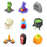 Halloween Icons Set Pumpkin Witch Hat Cauldron Stock Photography