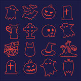 Halloween icons set. Halloween seamless pattern. Background vector. Pumpkin, Ghosts, Cats, Skulls, Bats and other symbols Stock Images