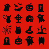 Halloween icons set. Halloween seamless pattern. Background vector. Pumpkin, Ghosts, Cats, Skulls, Bats and other symbols Royalty Free Stock Photos