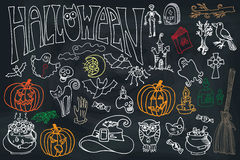 Halloween icons set with text.Doodles sketchy  chalkboard Royalty Free Stock Photography