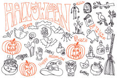Halloween icons set with text.Doodles sketchy Stock Photography