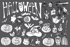 Halloween icons set with text.Doodles sketchy Stock Image