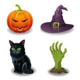Halloween icons set. Vector illustration. Royalty Free Stock Image