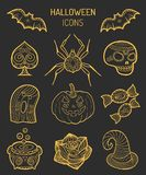 Halloween icons, signs. Vector illustrations of October 31 night.  Stock Images