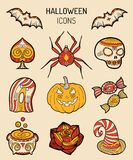 Halloween icons, signs. Vector illustrations of October 31 night. All Saints Day elements collection Stock Image