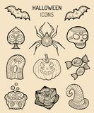 Halloween icons, signs. Vector illustrations of October 31 night. All Saints Day elements collection Royalty Free Stock Images