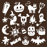 Halloween icons - silhouettes. Vector sketchy icons for Halloween Royalty Free Stock Photography