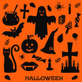 Halloween icons silhouettes Royalty Free Stock Photography