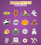 Halloween icons. Stickers Vector Illustration. Stock Images