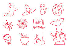Halloween icons stroke Royalty Free Stock Images
