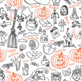Halloween icons and text seamless pattern.Doodles sketchy Stock Image