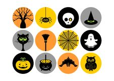 Halloween icons. Vector illustration. Halloween icons or logos in modern line style. Vector illustration on a gray background royalty free illustration