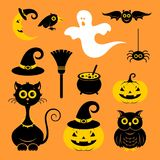 Halloween icons. Vector illustration. Halloween icons or logos in modern line style. Vector illustration on a orange background vector illustration