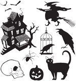 Halloween icons. Vector illustration set of Halloween icons in silhouette Stock Images