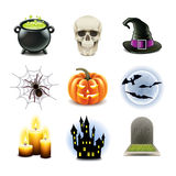 Halloween icons vector set stock illustration