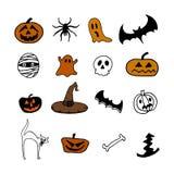 Halloween icons. On white background royalty free illustration