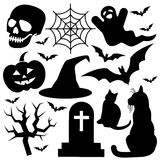 Halloween icons on white background. Royalty Free Stock Images