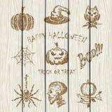 Halloween icons on white wooden background. Set of Halloween sketches icons drawn on white wooden background, holiday theme, illustration Royalty Free Stock Images