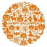 Halloween-Ikonen im Kreis. lizenzfreie abbildung